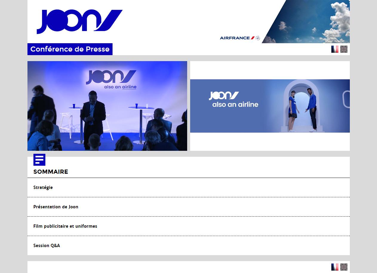 diffusion en direct sur Internet & live streaming d'événement Joon Air France