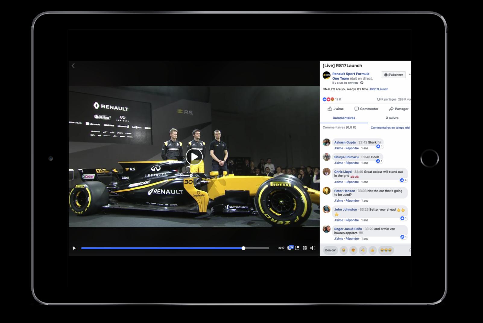 Diffuser en direct sur Internet un événement via Facebook Live pour Renault Sport